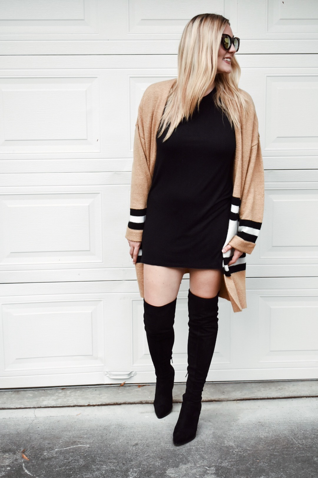 bc2b4aca8a3e Black t shirt dress styled with oversized topshop cardigan and over the  knee boots ...